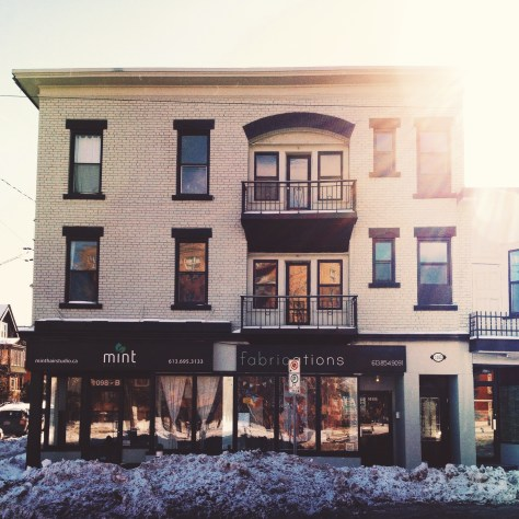 I look at the first occupants of this block in Hintonburg, at Somerset W and Spadina. February 2014.