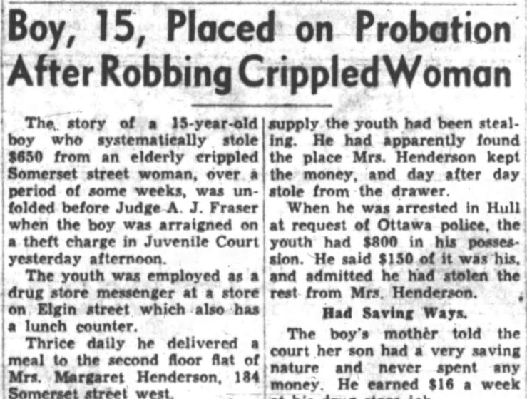 Henderson's widow Margaret outlived him by another 15 years. Source: Ottawa Journal, March 28, 1953.