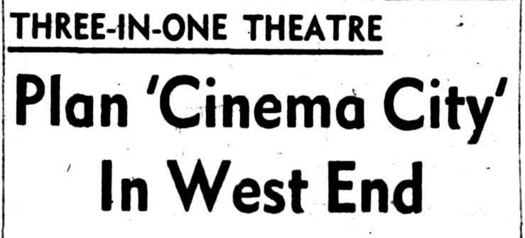 """A exciting announcement. The first mall in Canada to get a theatre was Yorkdale in Toronto, which had just opened that February. The """"Tri-Aud"""" of """"Cinema City"""" would have been 50% larger. Source: Ottawa Journal, May 5, 1964."""