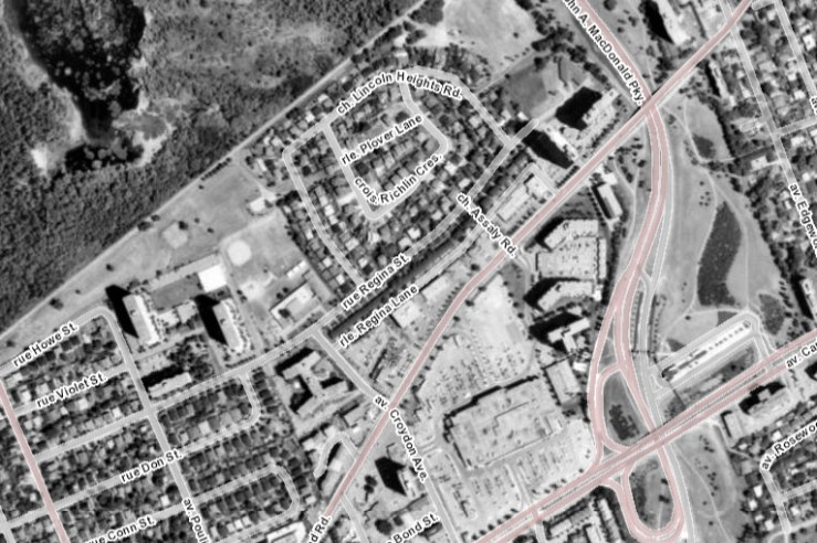 By the early 1990s, the Magee Farm had been about as developed as it would ever be. Source: geoOttawa (1991 Aerials).