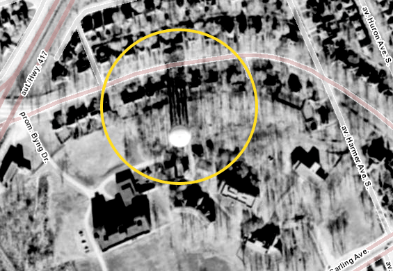 The Island Park water tower, complete with the long afternoon shadows. Source: geoOttawa (1958 Aerials)