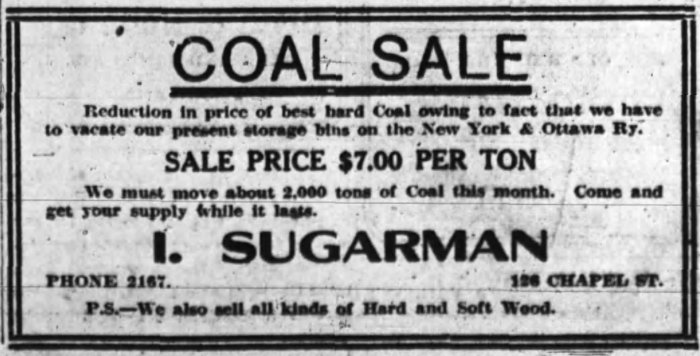 A ad for Isidore Sugarman's coal business. Source: Ottawa Journal, March 4, 1910.