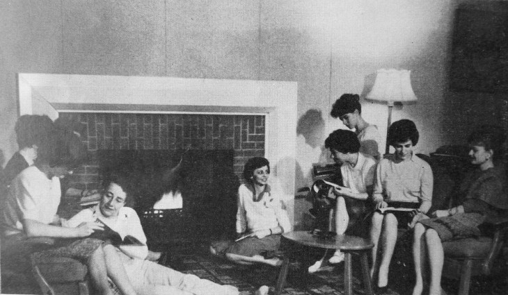 "Residents of Laurentian Terrace ""relax in one of the comfortable common rooms."" SOURCE: NEWSLETTER OF THE CENTRAL MORTGAGE AND HOUSING CORPORATION, VOLUME 9, NO. 12. JULY 31, 1964. [LAC MG 26-N3 (LESTER B. PEARSON FILES) VOLUME 166 FILE 352/C397.11 LAURENTIAN TERRACE.]"