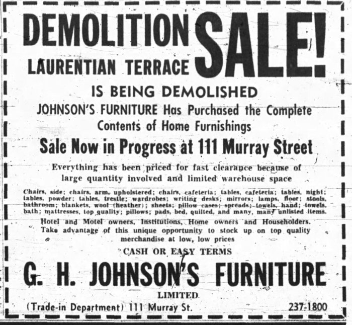 In death as in life, Laurentian Terrace's demolition garnered considerable attention. In this case, it was from the selling off of anything that could be from the former residence. Here, an advertisement for the sale of furniture. Source: Ottawa Journal, November 7, 1964, Page 9.