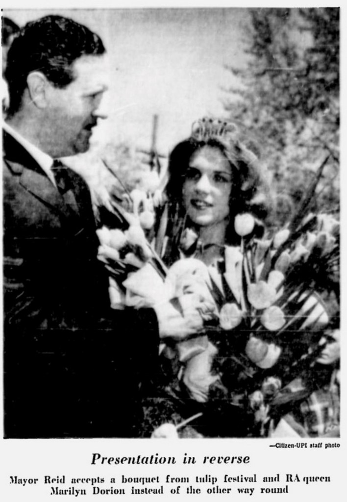 "The RA Queen (""Miss Civil Service"") was also Ottawa's Tulip Queen. Source: Ottawa Citizen, May 17, 1965, Page 4."