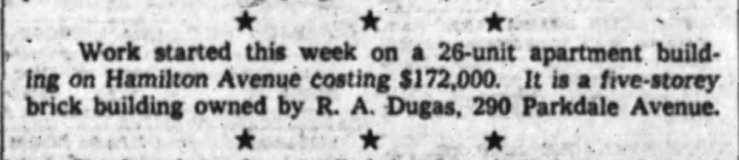 In March of 1962, Charles Lynch reported that work on the new apartment begun. Source: Ottawa Journal, March 31, 1962.