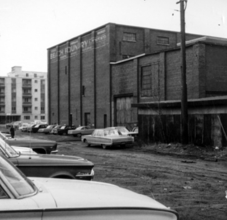 The Casablanca peeks out from behind the Beach Foundry on November 29, 1966. Source: Kitchissippi Museum / City of Ottawa Archives, CA-24661.