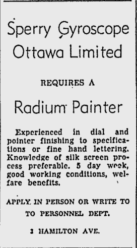 If the assembly of electric ranges didn't twirl your clock in the neighbourhood, then Sperry Gyroscope was always looking for skilled radium painters. Source: Ottawa Citizen, May 6, 1955, p. 39.