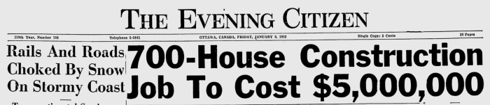 The Honeywell Farm development promised to deliver big. Source: Ottawa Citizen, January 9, 1953, p. 1.
