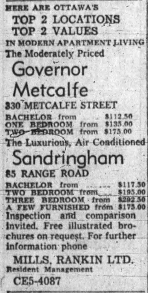 Neither building was inexpensive, though the Sandringham was clearly a cut above in rents commanded. Source: Ottawa Journal,April 13, 1960, p. 45.