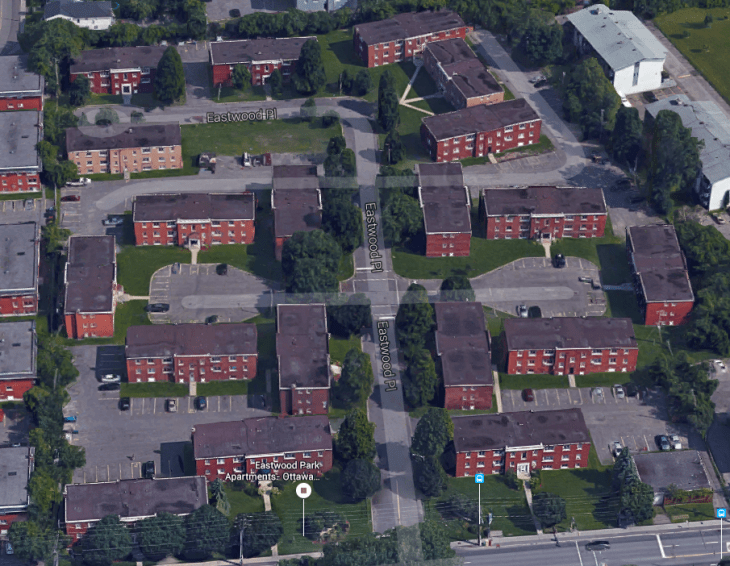 Vanier's Eastwood Park development was just what the doctor ordered: 19 separate buildings on 7.5 acres and freed from the rectilinear grid that was then considered a constraint. Image: Google Maps.