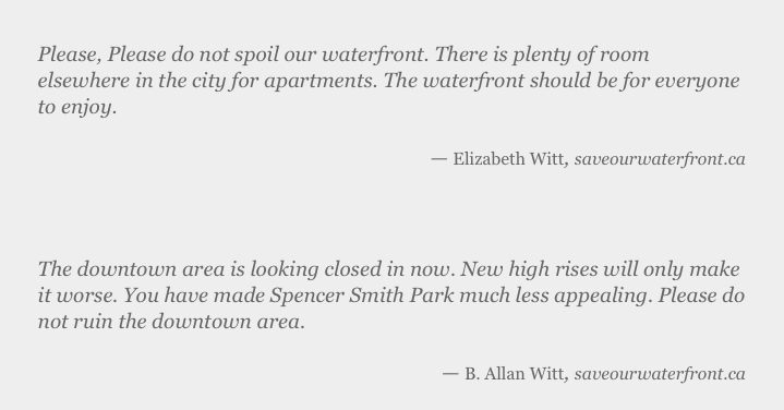 Perhaps most interestingly (given his past life) Witt has come out against a condominium development on Burlington's waterfront.