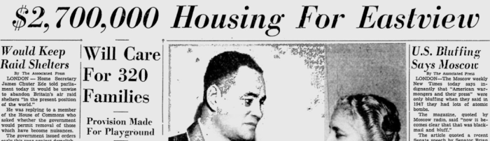 For many reasons Eastview was an attractive proposition in housing. Source: Ottawa Citizen, July 21, 1949, p. 1.