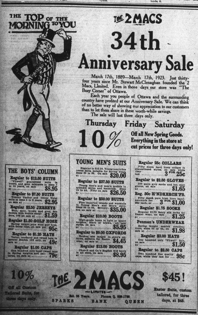 34 years (31 at The Busy Corner) and counting. Source: Ottawa Journal, March 16, 1923, p. 16.