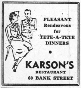 There were hundreds of advertisements run for Karson's in the Journal and Citizen. I happen to like this one. Source: Ottawa Journal, November 10, 1943, p. 2.