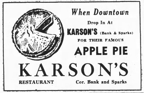 No restaurant worth its salt didn't excel in apple pie. Karson's was no exception. Source: Ottawa Journal, July 19, 1949, p. 29.