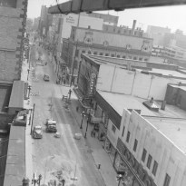 Ted Grant offers a bird's eye view of Sparks Street, as the Mall pilot project begins. The Citizen building is in the distance. Image: Ted Grant / LAC Series 60-765, Image 3.