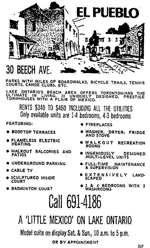 An advertisement run in the Star for the El Pueblo. Source: Toronto Star, February 23, 1973, p. 31.