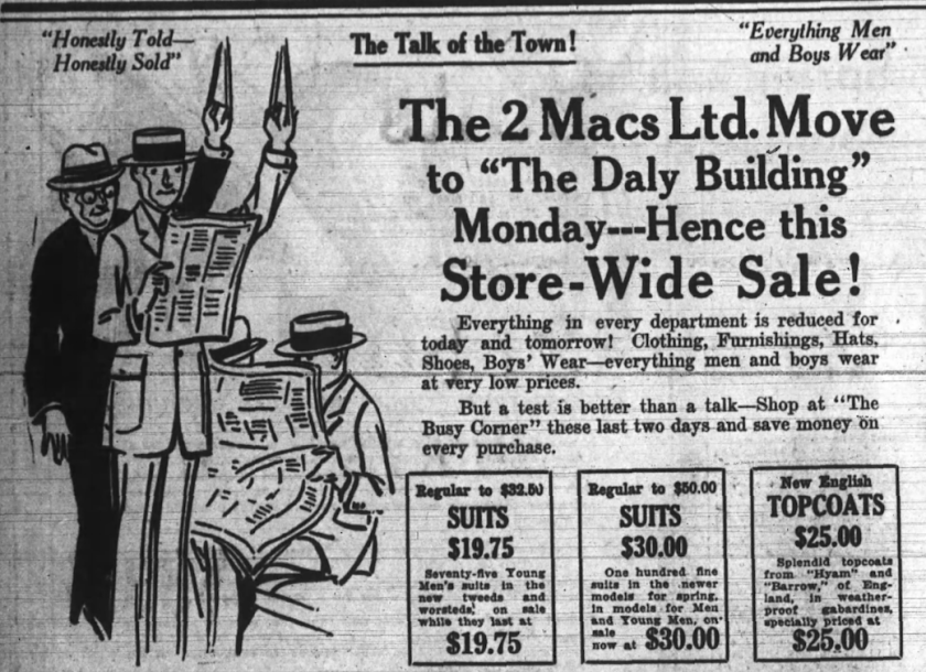 The 2 Macs bid The Busy Corner farewell in April 1923. Source: Ottawa Journal, April 27, 1923, p. 18.
