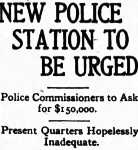 Less than 25 years after construction and only 8 years after construction of the juvenile annex, the Police Commissioners asked for a new building. Source: Ottawa Journal, July 17, 1913, p. 1.