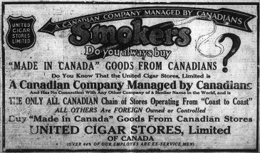 It was conveniently positioned so that you could purchase Canadian cigars at arrival or departure. Source: Ottawa Journal, March 4, 1921, p. 7.
