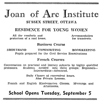 Advertisement for the residence run in the Citizen. Source: Ottawa Citizen, August 30, 1944, p. 6.