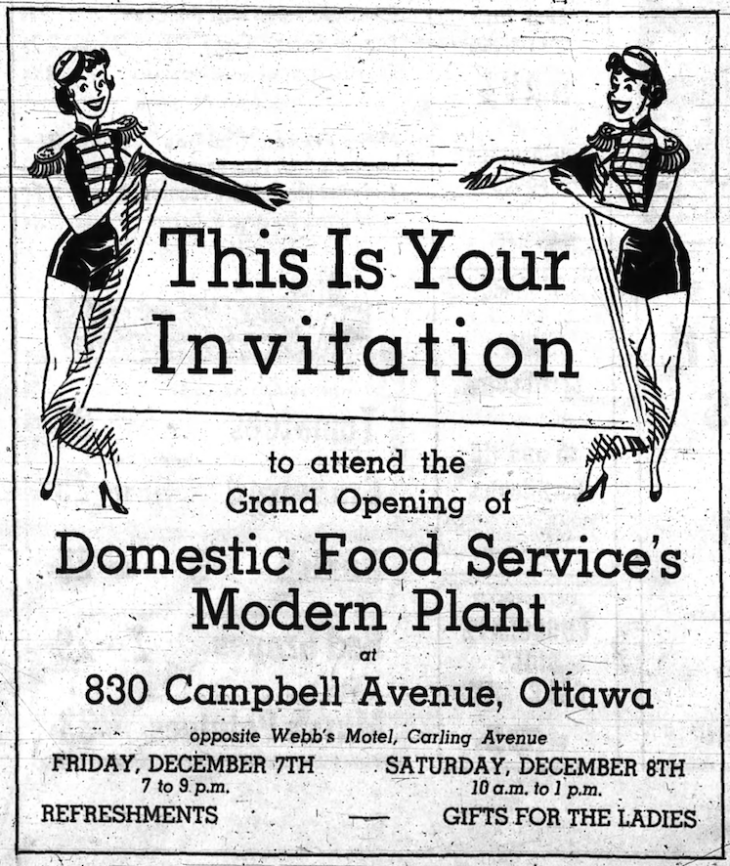 Ottawa Food Provisioners' grand opening was held over two days. Know where Webb's is? You can get there. Source: Ottawa Journal, December 6, 1956, p. 30.