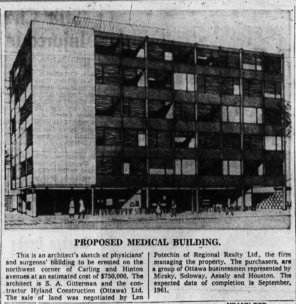 Gitterman's medical office, corner of Carling and Hinton. Source: Ottawa Journal, March 19, 1960, p. 9.