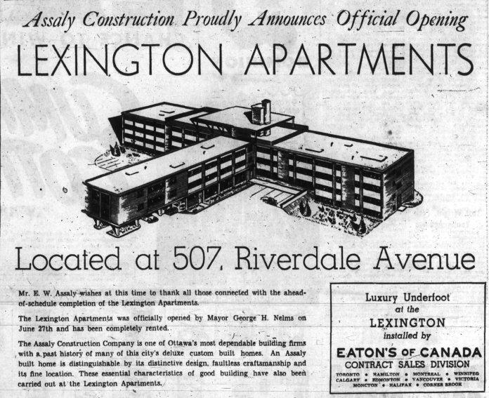 Tarnowski designed Assaly's Lexington Apartments on Riverdale. Source: Ottawa Journal, June 29, 1960, p. 33.
