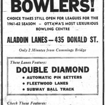 I've yet to see a front-facing photograph of the Aladdin Lanes. Source: Ottawa Journal, March 8, 1961, p. 15.