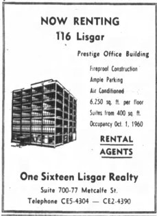 Advertisement for 116 Lisgar. Source: Ottawa Journal, May 30, 1961, p. 9.
