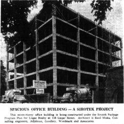 116 Lisgar under construction, located in an advertisement for Sirotek Construction. Source: Ottawa Journal, July 11, 1961, p. 11.