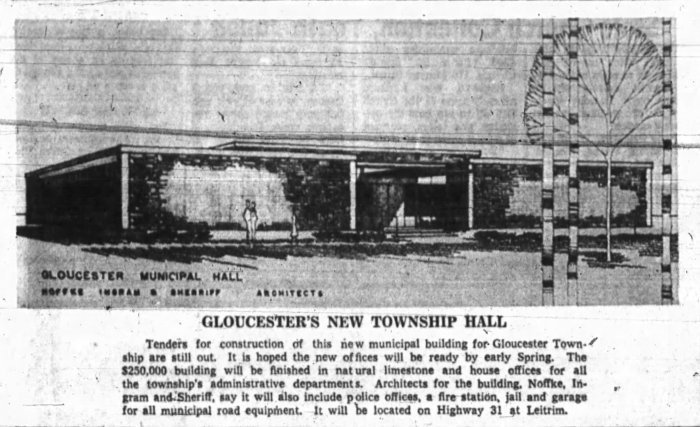 Noffke, Ingram, and Sherriff's Gloucester Township Hall. Source: Ottawa Journal, November 8, 1861, p. 33.