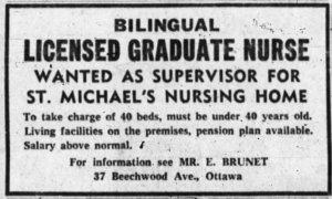 In 1962, the space was repurposed as a nursing home for seniors. Source: Ottawa Journal, June 26, 1962, p. 24.