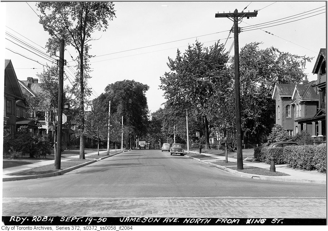 Jameson, looking north from King. Image: City of Toronto Archives, Fonds 200, Series 372, Subseries 58, Item 2084.