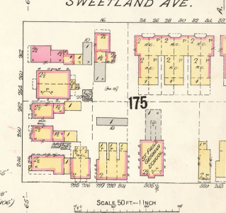Before the Albany, the site was occupied by St. Paul's Lutheran School. Source: Goad's Atlas, 1902 (1912 Revision), Plate 26.