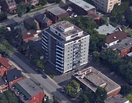 Bird's eye of The Albany - Assumption House - at 305 Nelson in 2015. Image: Google Maps.