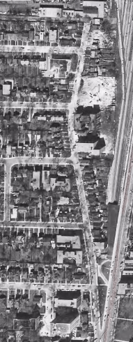 The strip in 1956. The apartments were well on their way. Image: City of Toronto Archives, Series 12, 1956, Item 135.