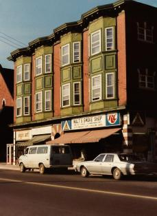 Now home to the Ministry of Coffee, Wine Rack, and Fox & Feather. Early 1980s. Image: Ronald Temchuk.