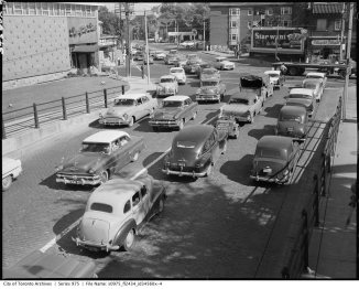 Traffic at Dupont and Davenport in 1957. Image: City of Toronto Archives, Fonds 1653, Series 975, File 2434