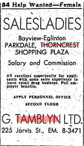 Source: Toronto Star, November 14, 1956, 52.