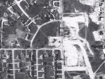 Thorncrest from above in 1953, as construction of the shopping centre was nearing. Joe O'Brien's Esso was present. Image: City of Toronto Archives, Series 12, Item 130.