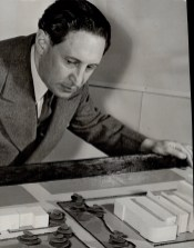Eugene Faludi with a model of a proposal for Hamilton's cultural centre in 1946. Image: Toronto Star / Toronto Public Library, Baldwin Collection, Item TSPA 0046263f.