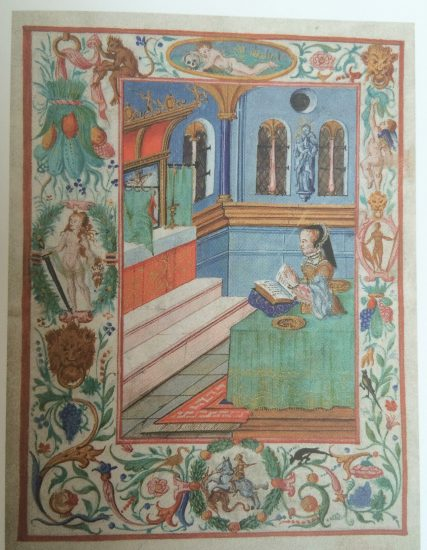 Circa 1554 by an unknown artist [ref] The Queen Mary Book of Prayers (Westminster Cathedral) [/ref]