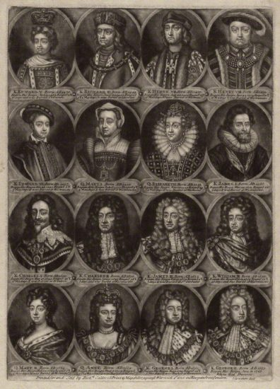 The Sovereigns of England, part 2 by John Carwitham, printed and published by Richard Caldwell, after Unknown artist mezzotint, circa 1723-1741 NPG D34142 © National Portrait Gallery, London