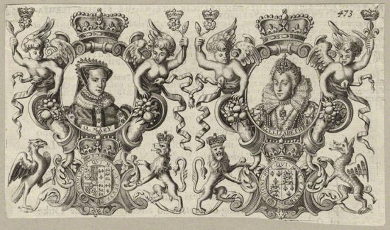 Queen Mary I; Queen Elizabeth I after Unknown artist line engraving, published 1677 NPG D34140 © National Portrait Gallery, London