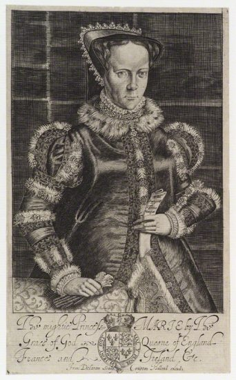Queen Mary I by Francis Delaram, published by Compton Holland engraving, circa 1600-1627 NPG D20124 © National Portrait Gallery, London