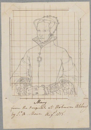 Queen Mary I by Henry Bone, after Unknown artist, after Anthonis Mor (Antonio Moro) pencil drawing squared in ink for transfer, August 1815 NPG D17186 © National Portrait Gallery, London