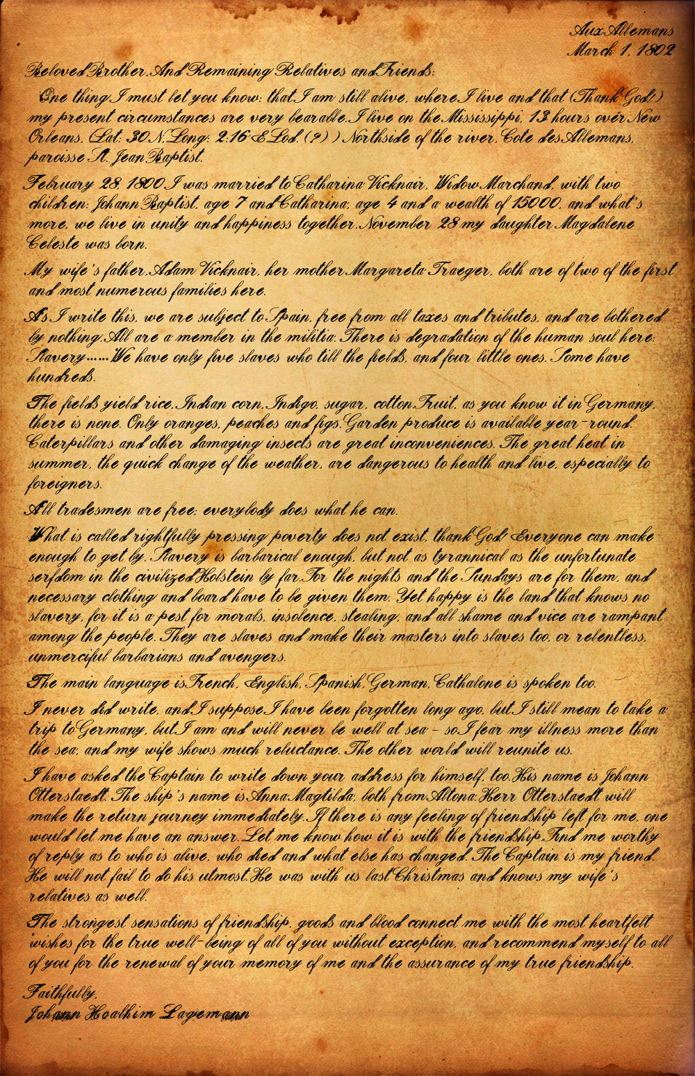 1800\'s Letter from the Coast