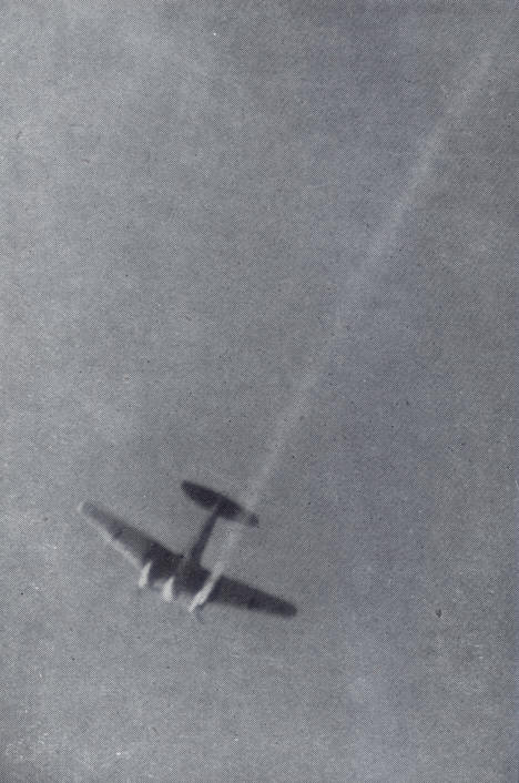 Heinkel He-111 with starboard engine on fire